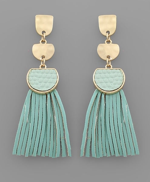 I Mint To Leather Tassel Earrings