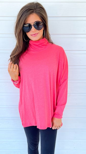 Watermelon Mock Neck Pullover