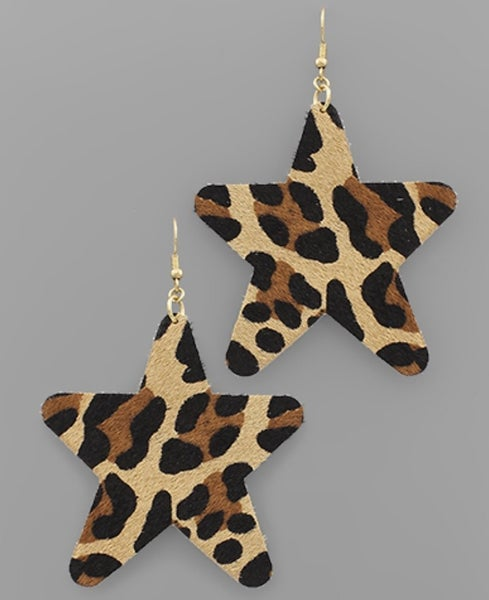 Be A Star Leopard Earrings