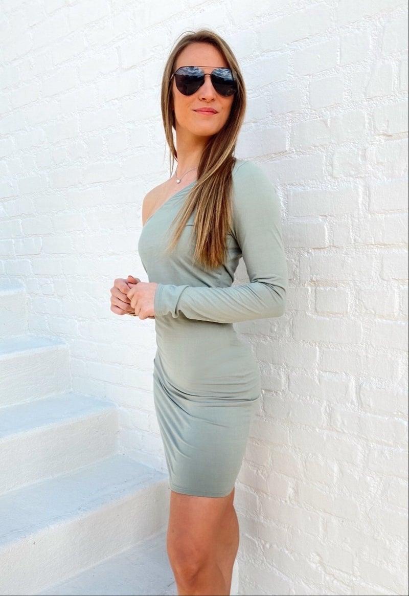 Alyssa One Shoulder Dress -green