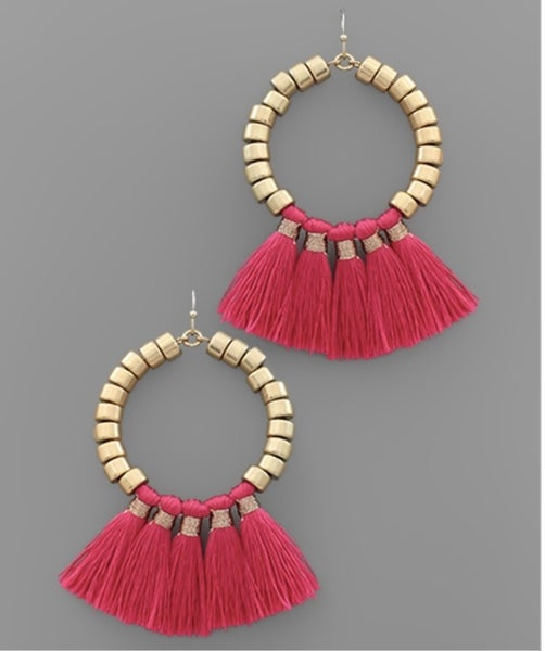 Fuchsia Tassel Circle Earrings