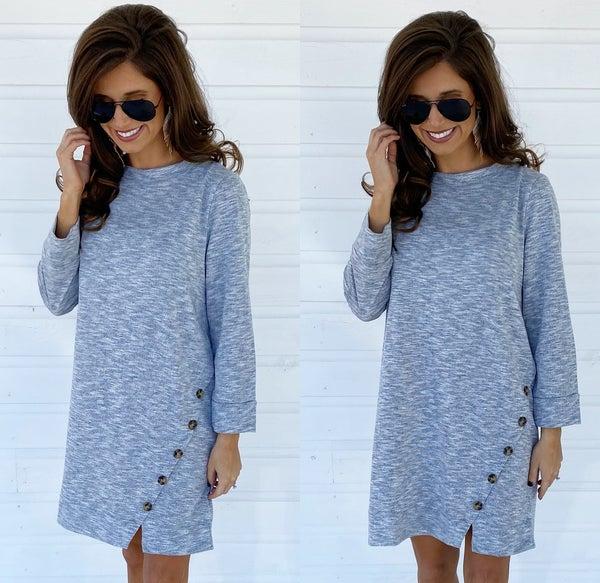 Heather Blue Button Dress