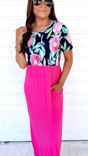 Fuchsia Floral Craze Maxi Dress