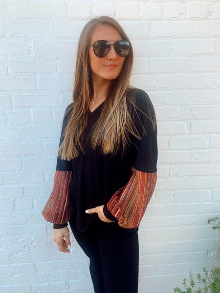 Bold and Black Printed Sleeve Top