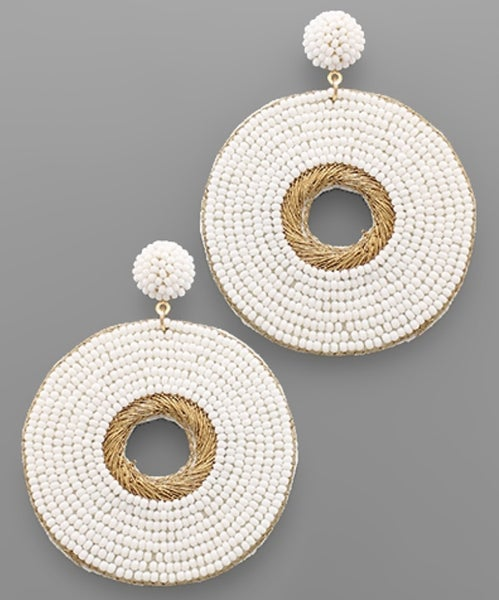 Cecilia Circle Beaded Earrings- White