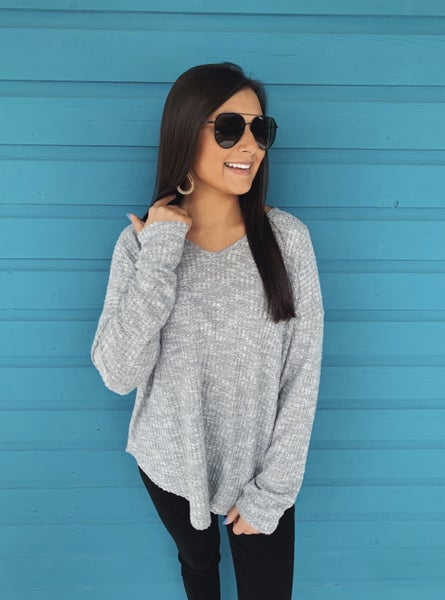 In The Valley V-Neck Top- Grey *Final Sale*