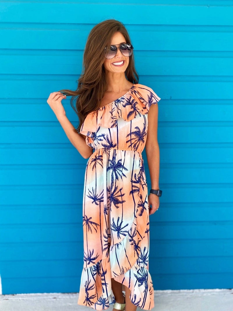 Peach Palm Dress