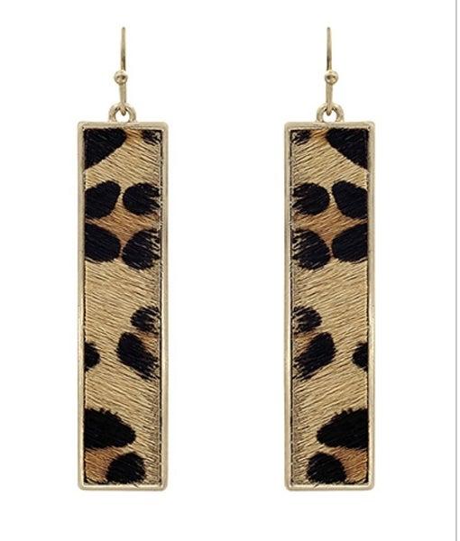 Leopard Cowhide Rectangle Earrings