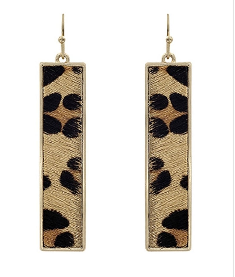 Leopard Cowhide Rectangle Earrings