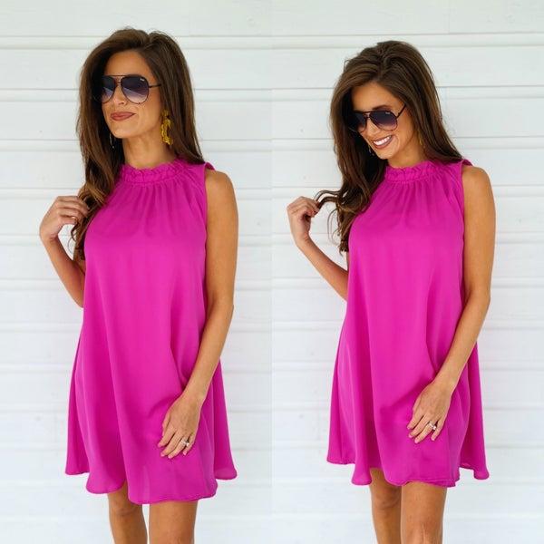 Hello Summer Swing Dress- Magenta