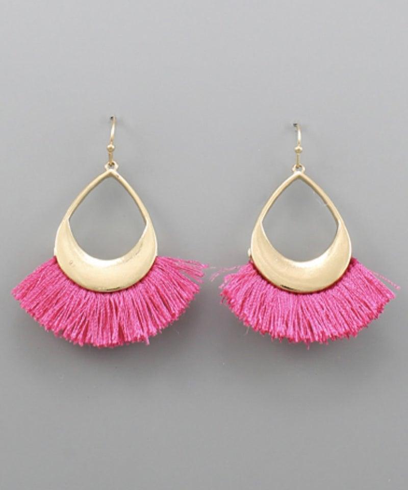 Fringe Teardrop Earrings- Fuchsia