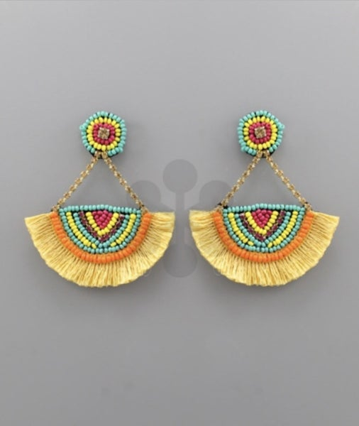 Feeling Fiesta Yellow Earrings