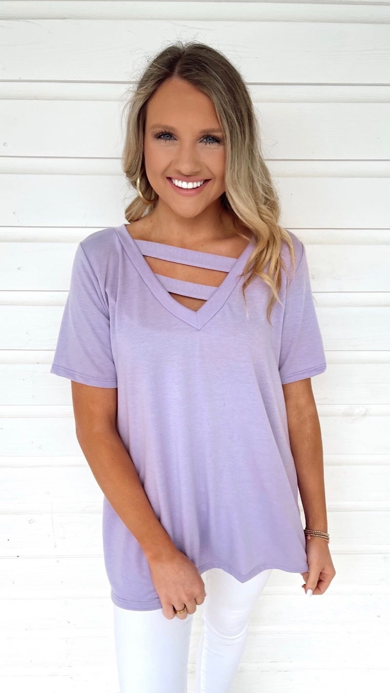 Vanessa V-Neck Top- Lavender