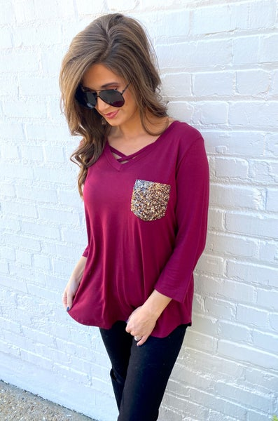 Burgundy Stealing the Show Sequin Pocket Top