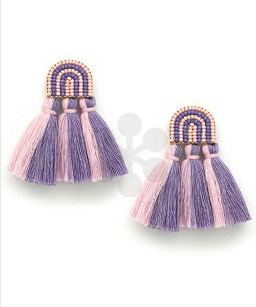 Too Much Fun Tassel & Beads Earrings- Pink/Purple