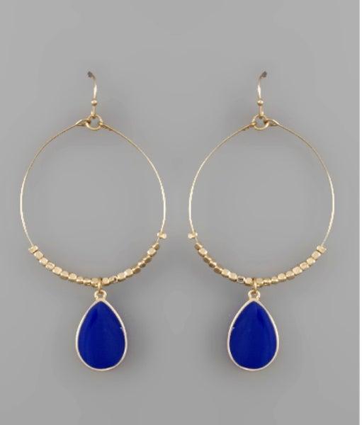Tessa Teardrop Circle Earrings- Blue