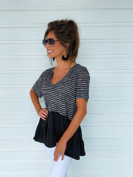 Right This Way Black Striped Top