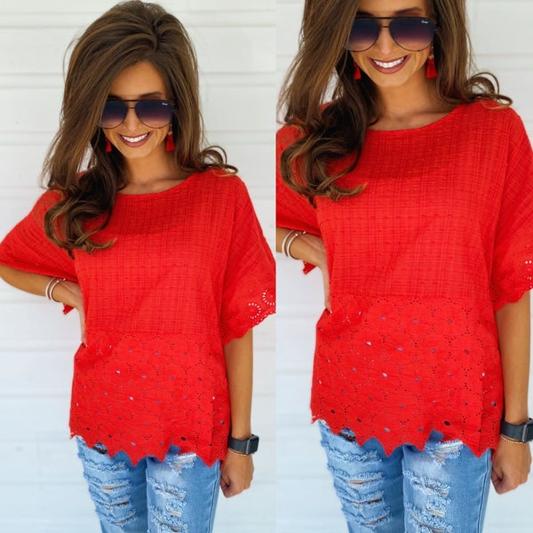 Right Now Red Eyelet Top