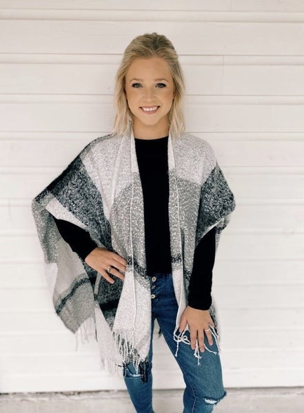 Your Best Guess Grey Plaid Poncho *Final Sale*