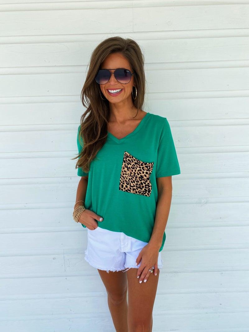 Leopard Pocket Top- Green