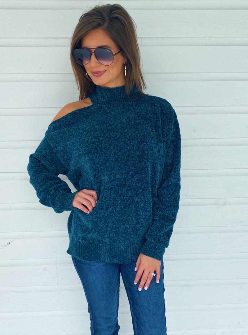 Tessa Teal Cold Shoulder Sweater