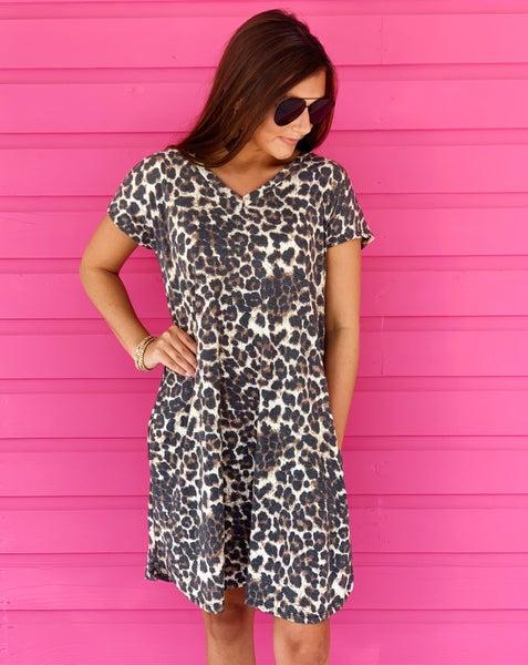 Lindsey Leopard V-Neck Dress