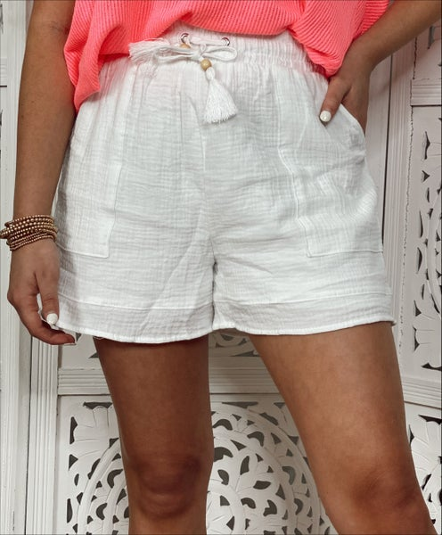 Willow White Linen Shorts