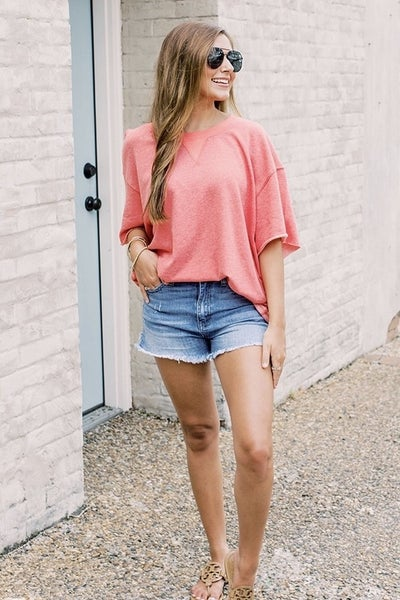 Strawberry Distressed Top