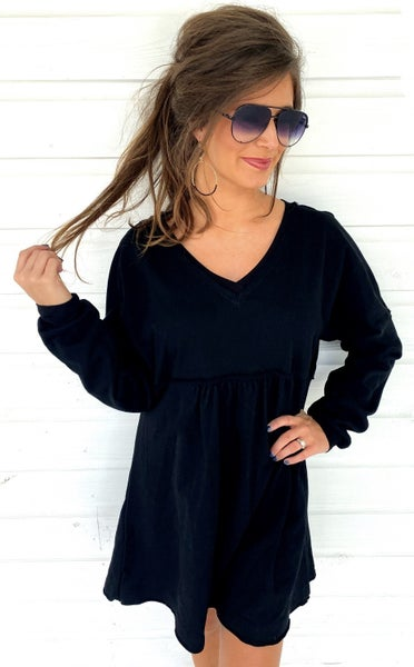 Black French Terry Dress