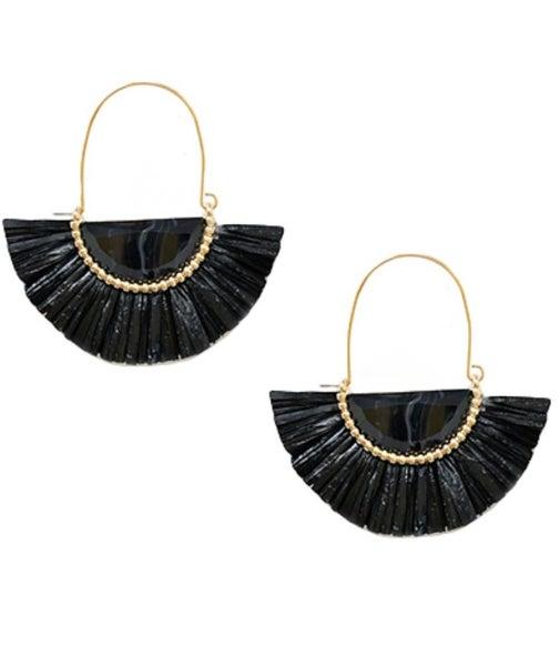 Black Raffia & Stone Earrings
