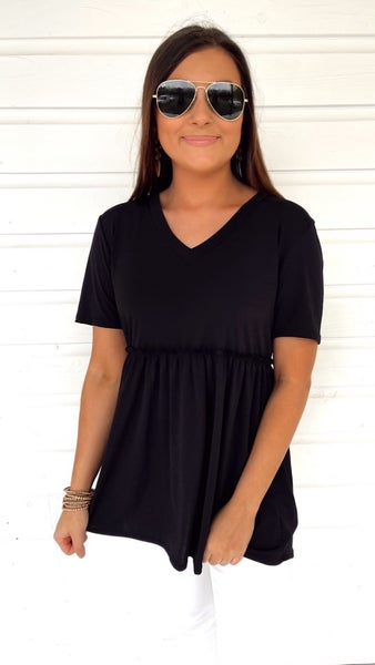 Enchanting V Neck Baby Doll Top- Black