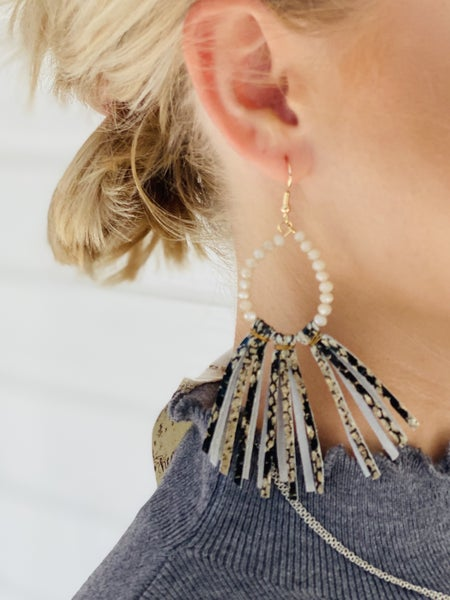 Shimmer Bead & Snake Leather Tassel Earrings