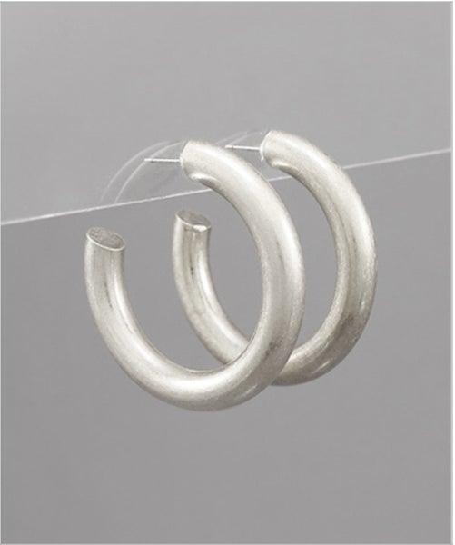 Maddie Matte Silver Hoop Earrings