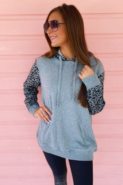 Get It Girl Grey Cheetah Hoodie