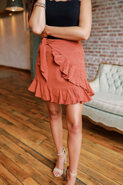 Rule the Day Rust Wrap Skirt
