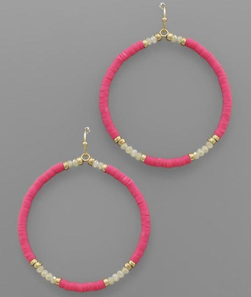Hot For Pink Beaded Circle Earrings