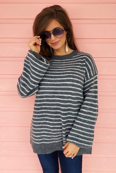 Harper Striped Sweater- Charcoal
