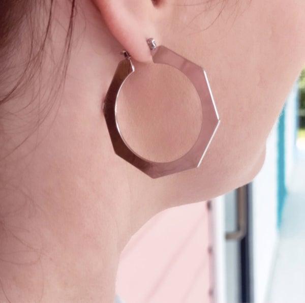 Bold Silver Octagon Hoop Earrings