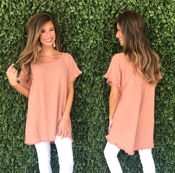 Canyon Clay Frayed Hem Top