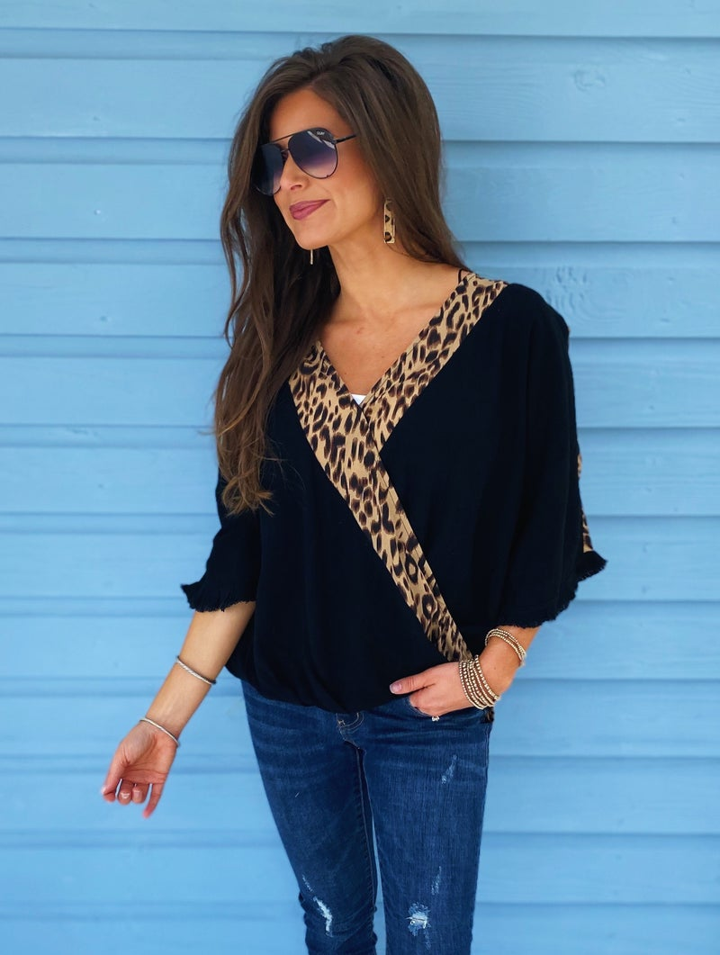 Animal Print Wrap Front Top