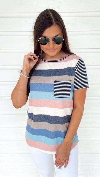 Saylor Striped Short Sleeve Top