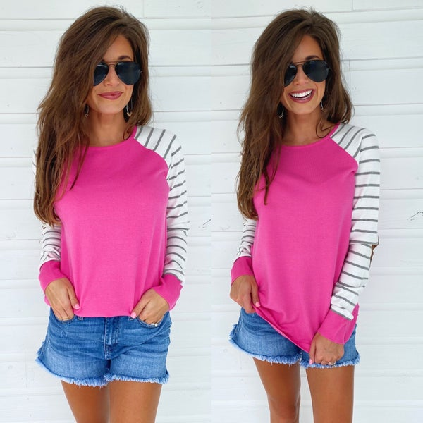 Hot Pink Striped Sleeve Sweater
