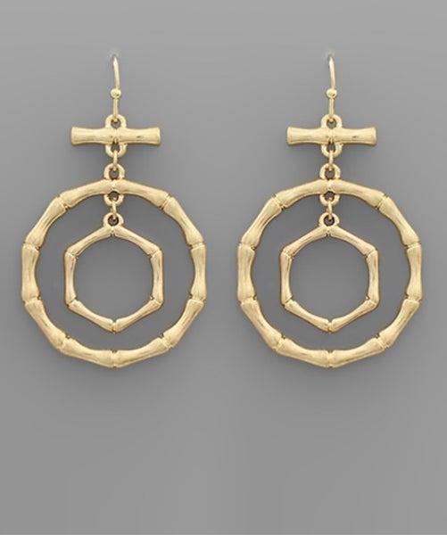 Bibi Bamboo Circle & Toggle Gold earring