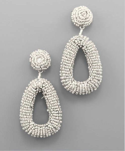 Sweet Taste Teardrop Beaded Earrings- ivory