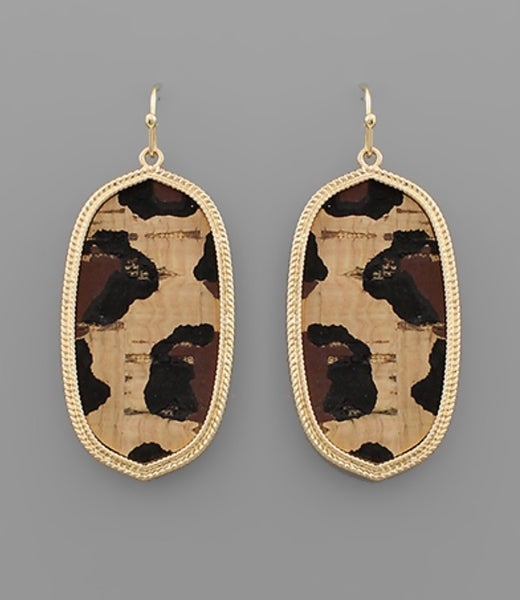 Living The Life Leopard Cork Earrings