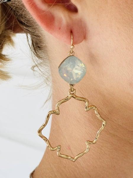 Quatrefoil & Stone Earrings- White Opal