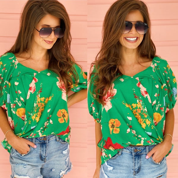 Gracious In Green Floral Top