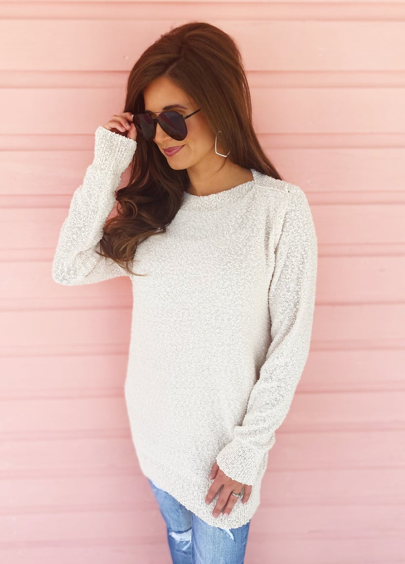 Cassie Cream Long Knit Sweater