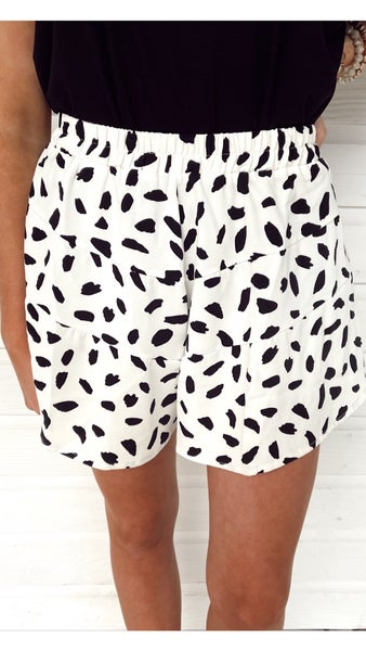 Never a Dull Moment Cream Spotted Shorts