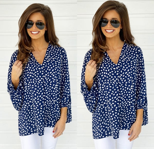 Sophie Spotted Top- Navy